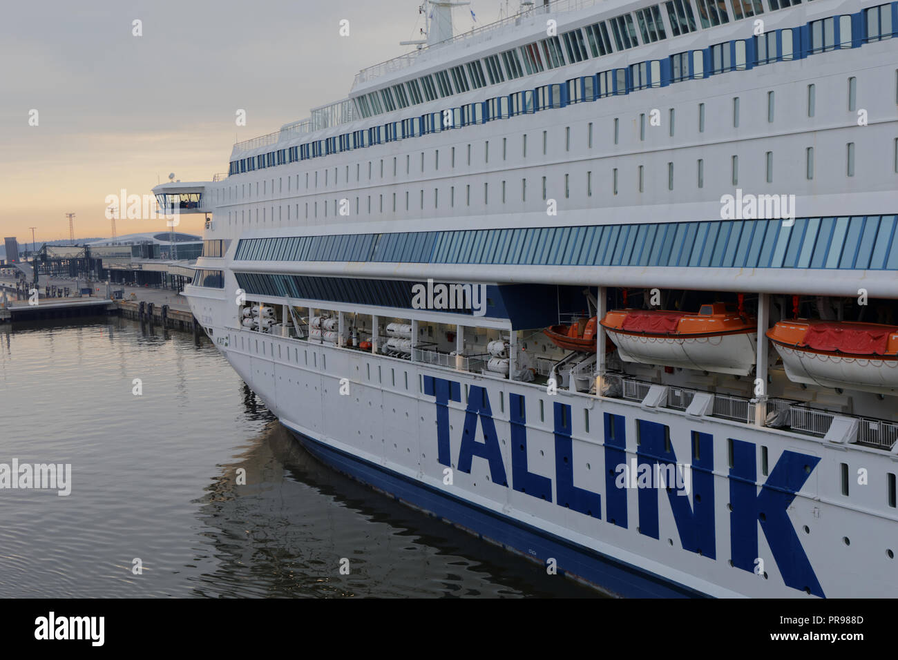 Helsinki, Finland - April 15, 2018: Cruise ship Silja Europa is moored at West Terminal. Built in 1993 with passenger capacity of 3000, the ship opera - Stock Image