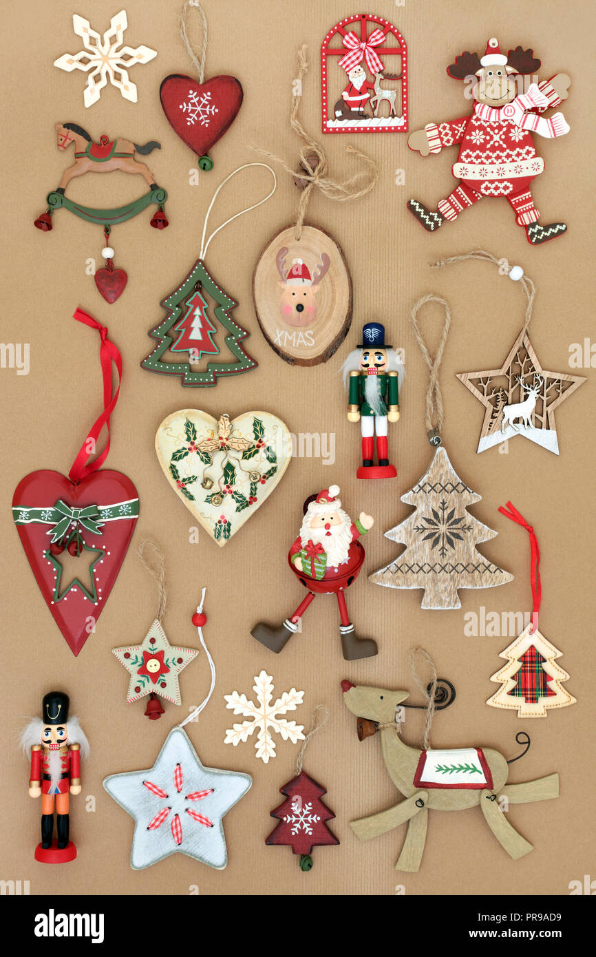 Old Fashioned Retro Christmas Tree Decorations Made From Tin And