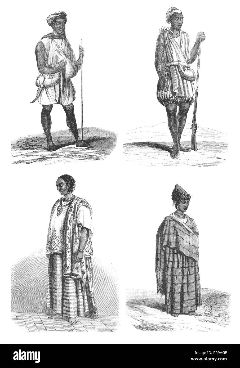 19th century illustration of Joloffs Costumes - Drawings by Nousveaux. Original artwork published in Le magasin Pittoresque by M. A. Lachevardiere, Pa - Stock Image
