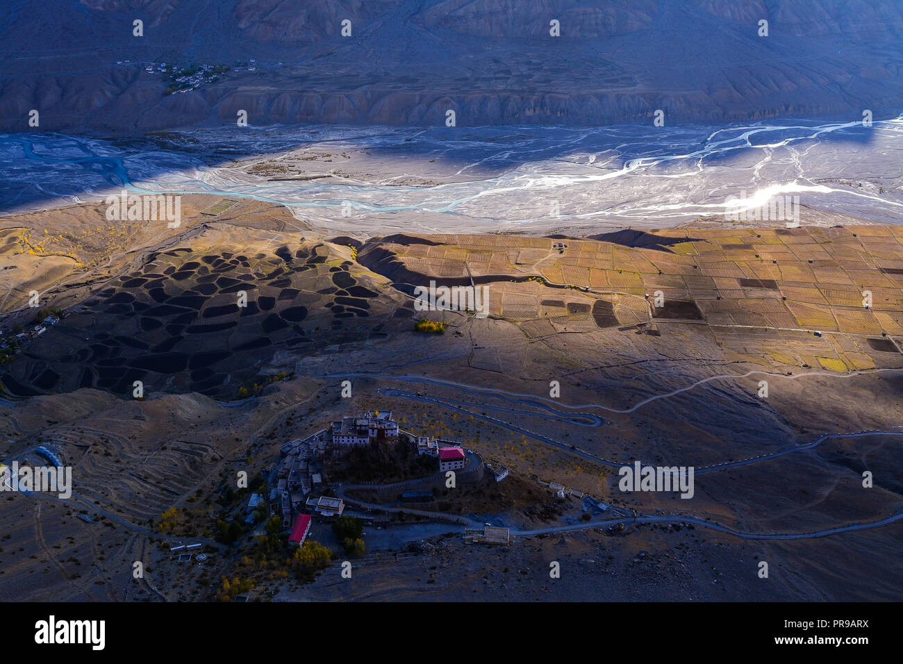 Aerial view of Ki Monastery in Spiti Valley, Himachal Pradesh. - Stock Image