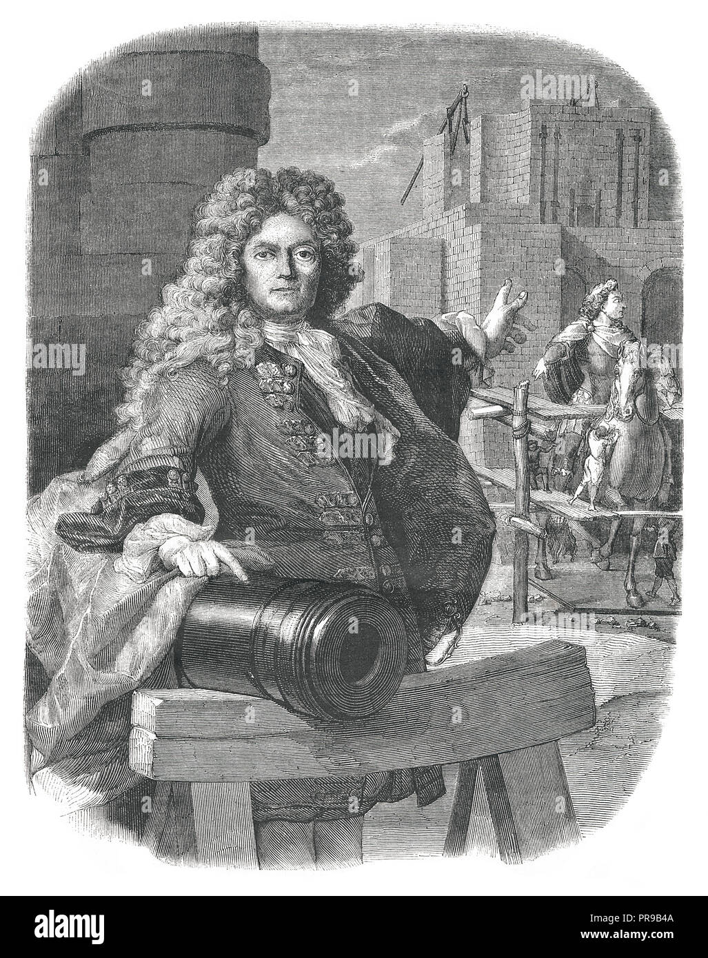 19th century illustration of Jean-Balthazar Keller (1638–1702) who was Swiss gunfounder from Zürich, in the service of France.  After the painting of  - Stock Image