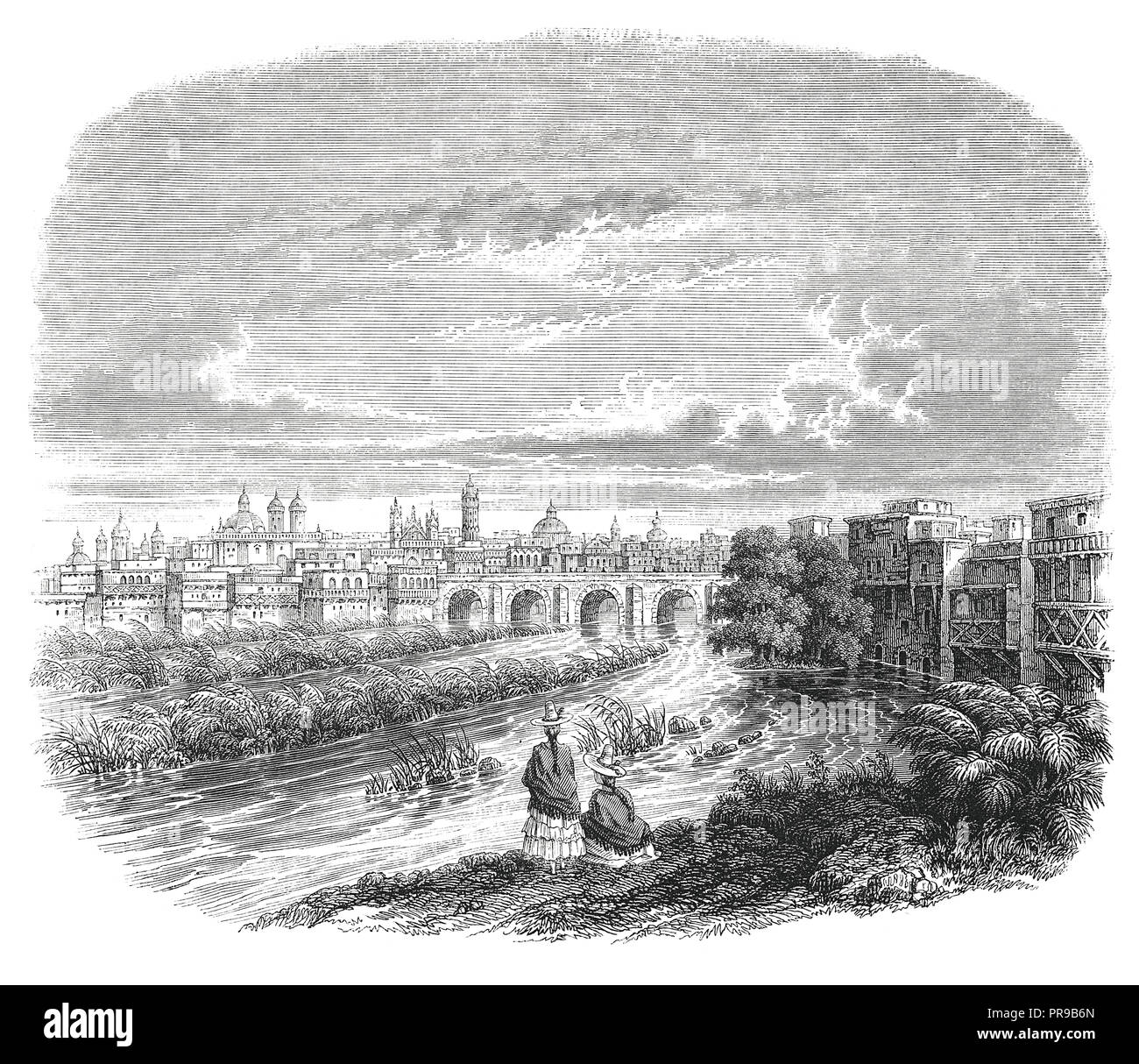 19th century illustration of landscape of Lima, capital of Perou, since 1844. Drawing by Max Radiguet. Original artwork published in Le magasin Pittor - Stock Image