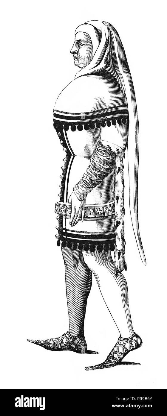 19th century illustration of lord with traditional costume in France, after miniature since 1360-1365. Original artwork published in Le magasin Pittor - Stock Image