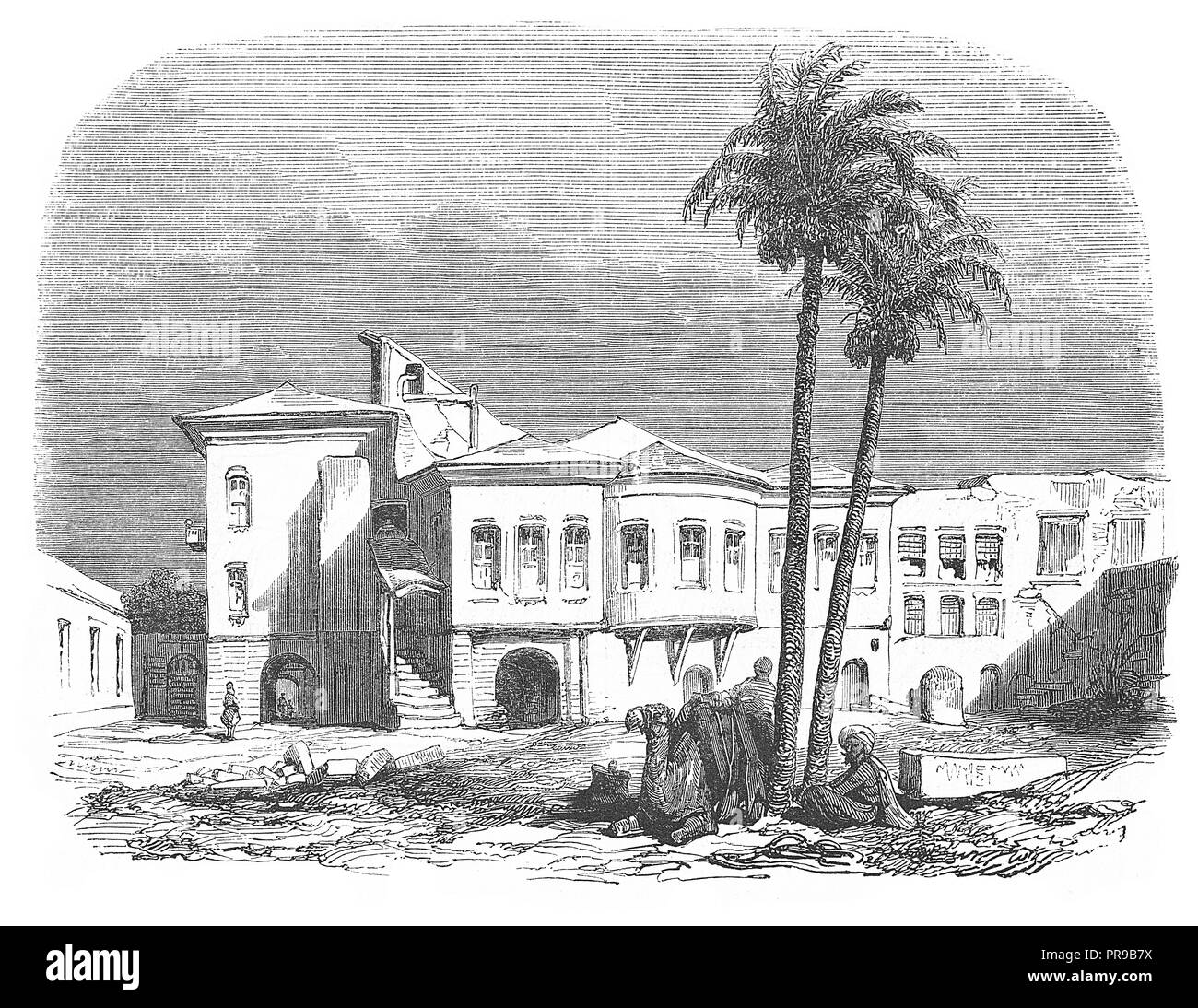 19th century illustration of Ministry of Education, Cairo - the place where Jean Baptiste Kleber was assassinated in 1800 . Original artwork published - Stock Image