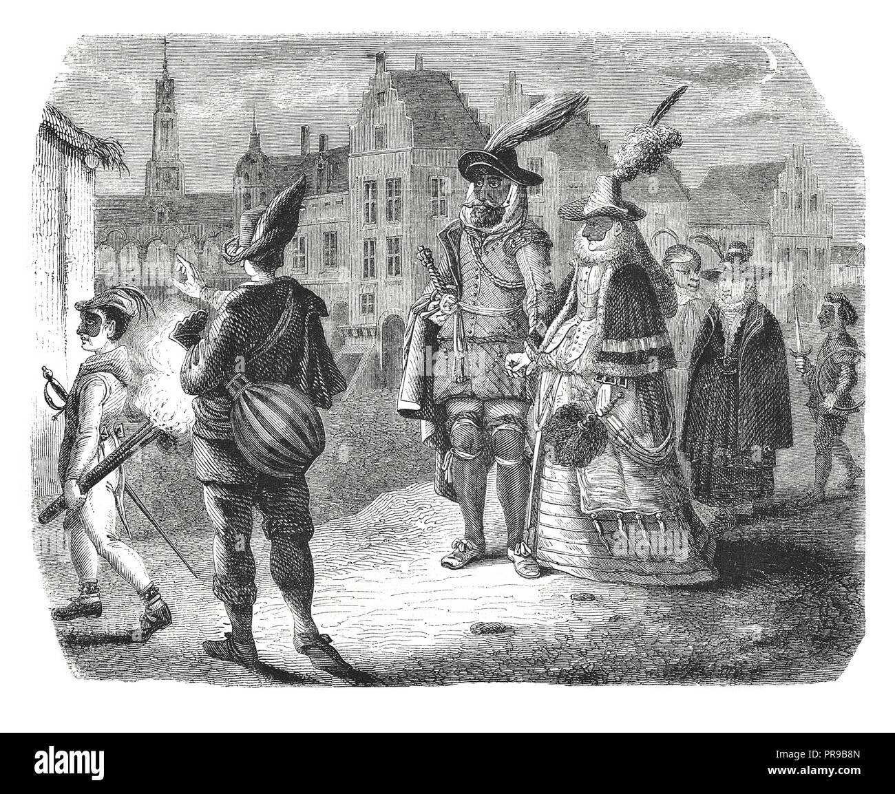 19th century illustration of Noble family in the evening in a city of the Netherlands (c.16th century). Original artwork published in Le magasin Pitto - Stock Image