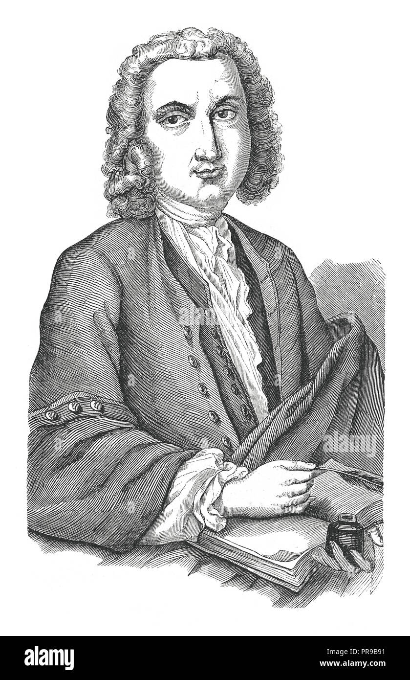 19th century illustration of a portrait of Albrecht von Haller (16 October 1708 – 12 December 1777) who was a Swiss anatomist, physiologist, naturalis - Stock Image