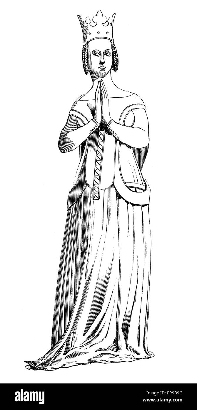 19th century illustration of Queen Jeanne de Bourbon, wife of Charles V - after an antique statue in the Celestine church  in Paris (antique engraving - Stock Image