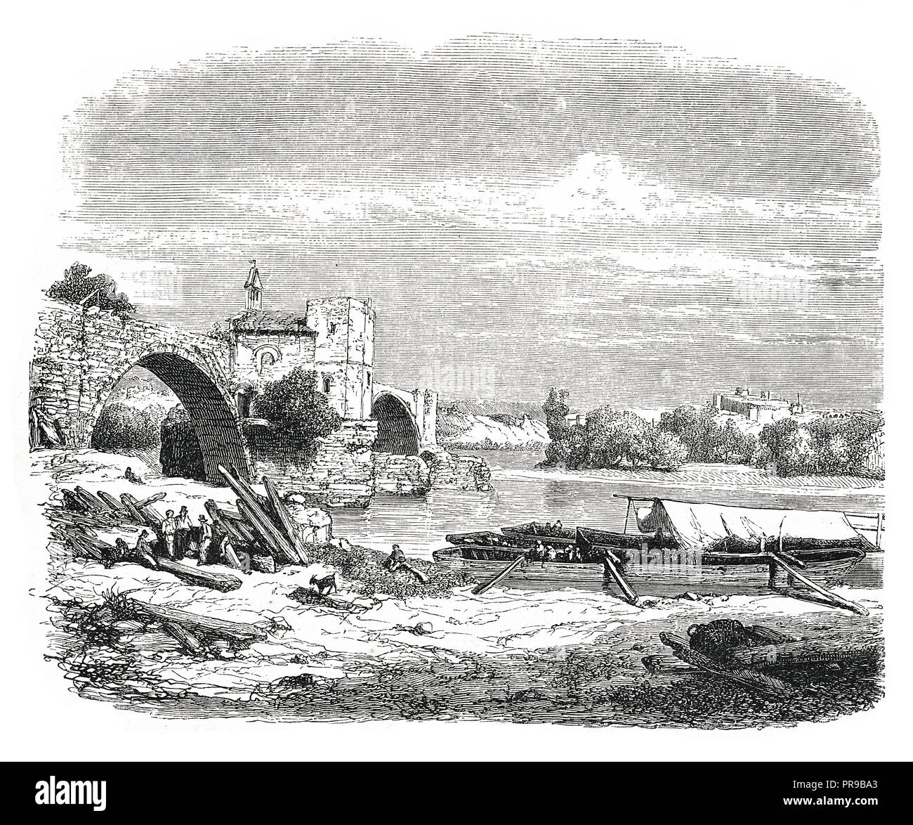 19th century illustration of ruins' bridge St. Benezel, in Avignon, by M. Thuillier. Original artwork published in Le magasin Pittoresque by M. A. Lac - Stock Image