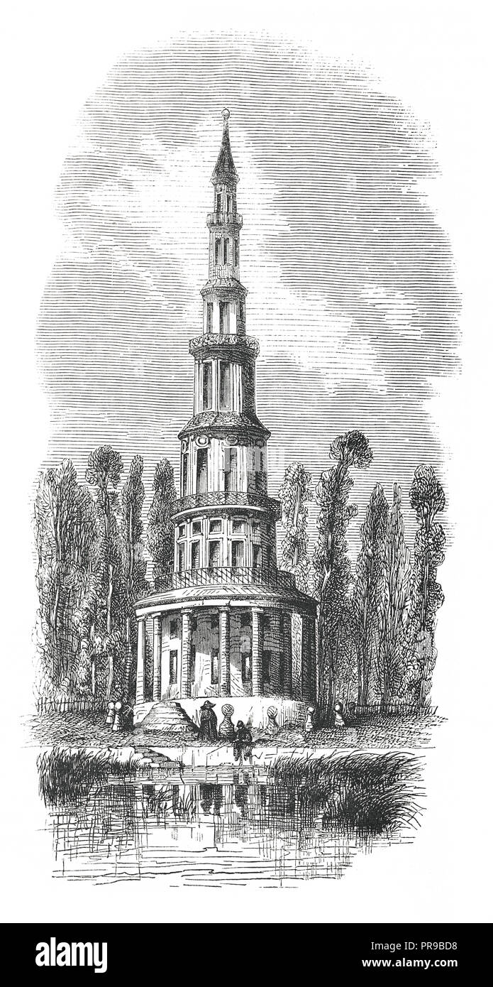 19th century illustration of the Pagoda in Chanteloup. Original artwork published in Le magasin Pittoresque by M. A. Lachevardiere, Paris, 1846. - Stock Image