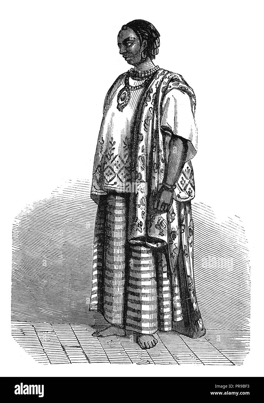 19th century illustration of a traditional costume of a female Yolof, Senegambia. Drawing by Nousveaux. Original artwork published in Le magasin Pitto - Stock Image