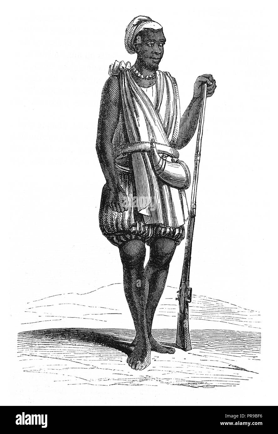 19th century illustration of a traditional costume of a male Yolof, Senegambia. Drawing by Nousveaux. Original artwork published in Le magasin Pittore - Stock Image