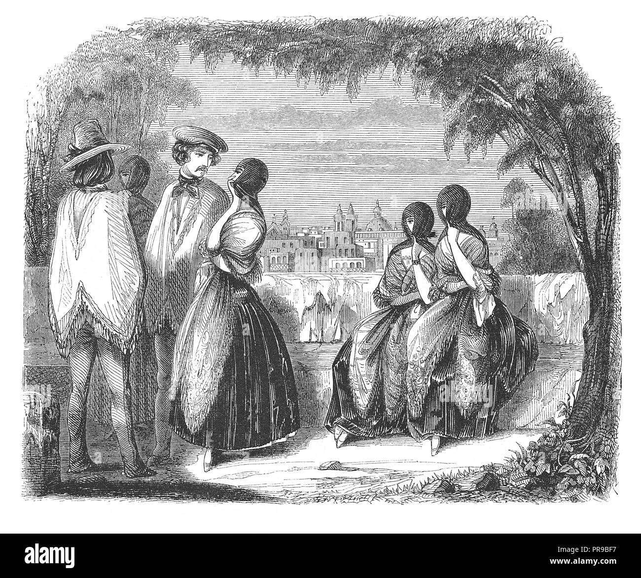 19th century illustration of traditional costumes at Lima. Drawing by Max. Radiquet. Original artwork published in Le magasin Pittoresque by M. A. Lac - Stock Image