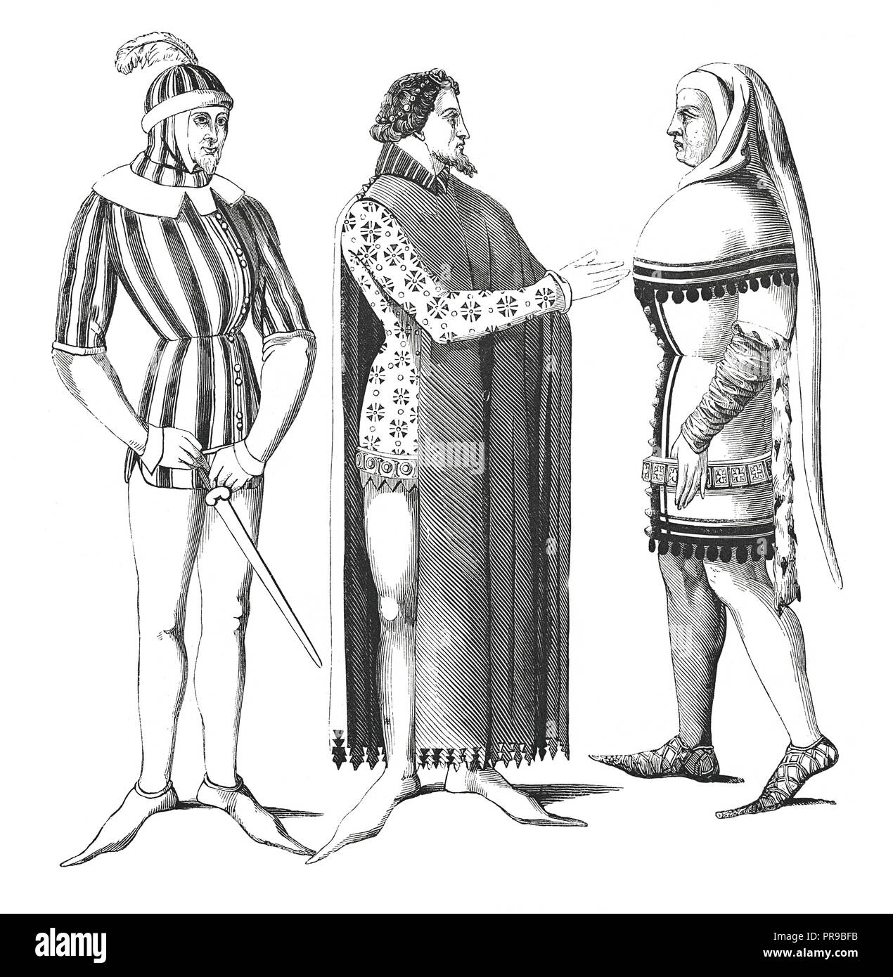 19th century illustration of Lords' costumes, room and city - Miniatures from between 1360-1365. Original artwork published in Le magasin Pittoresque  - Stock Image