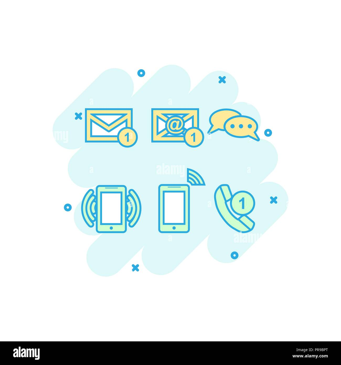Cartoon colored contact buttons icon in comic style. Email, envelope, phone, mobile illustration pictogram. Communication sign splash business concept - Stock Image
