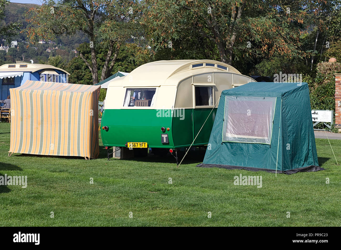 Vintage Caravan And Awning On A Campsite Stock Photo 220868539 Alamy