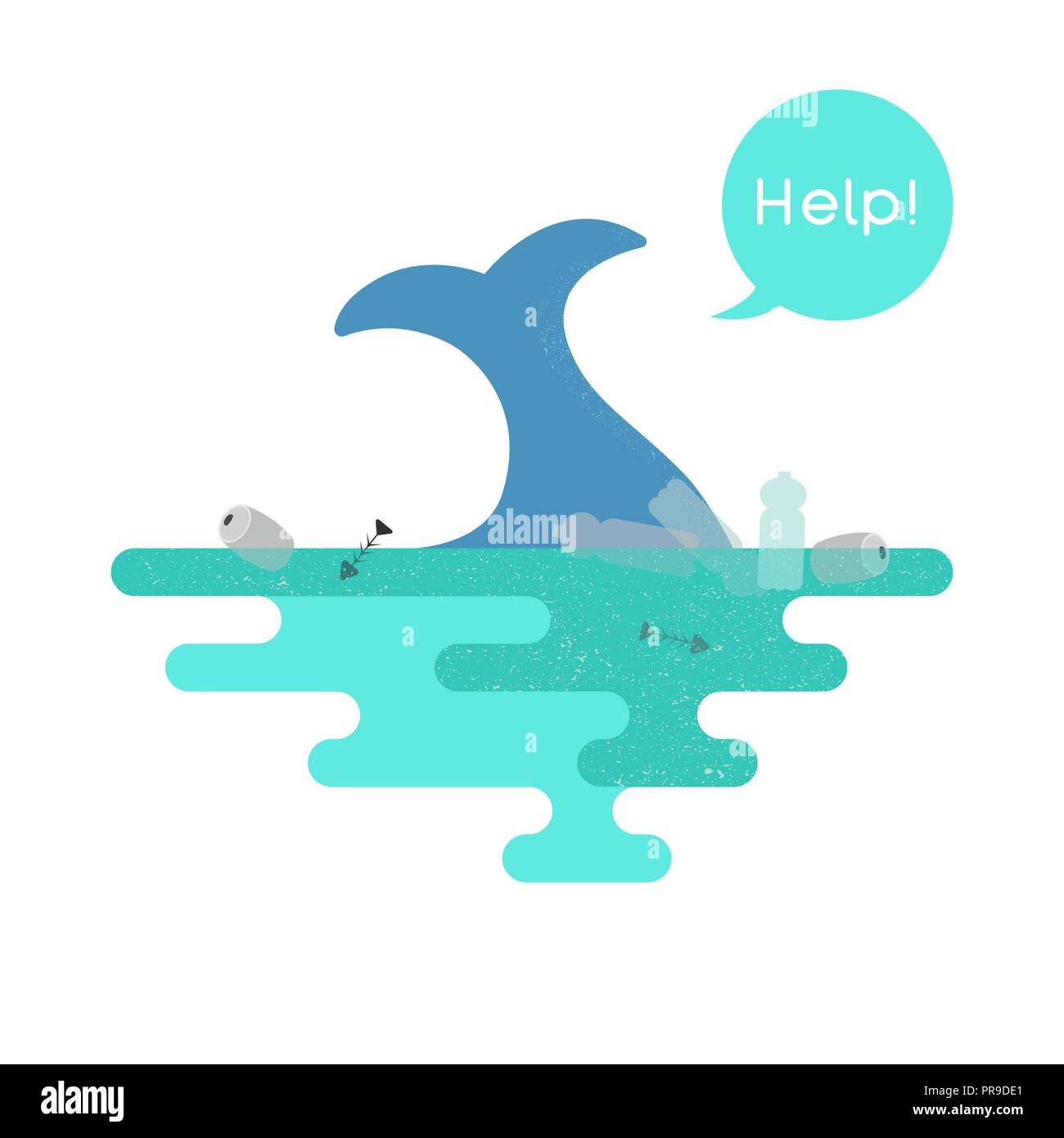 Illustration on the theme of pollution of the ocean. Vector - Stock Vector