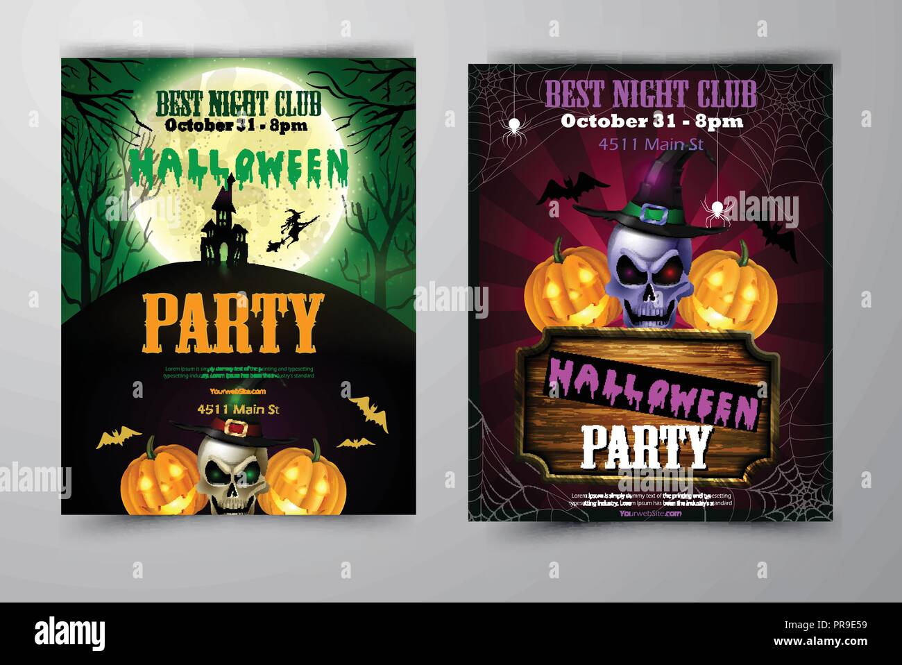 halloween party flyer with pumpkins stock vector art illustration