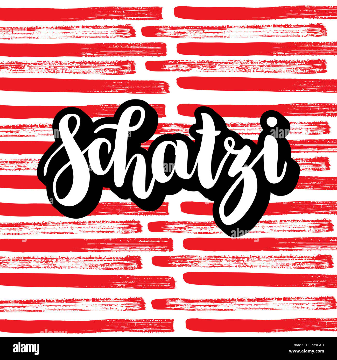 schatzi - sweetheart in German. Happy Valentines day card, Hand-written lettering on colorful abstract background.  illustration. - Stock Image