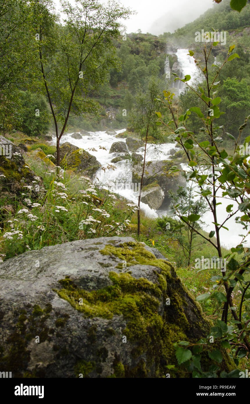Norway - Jostedalsbreen National Park - Waterfall - Europe travel destination - Stock Image