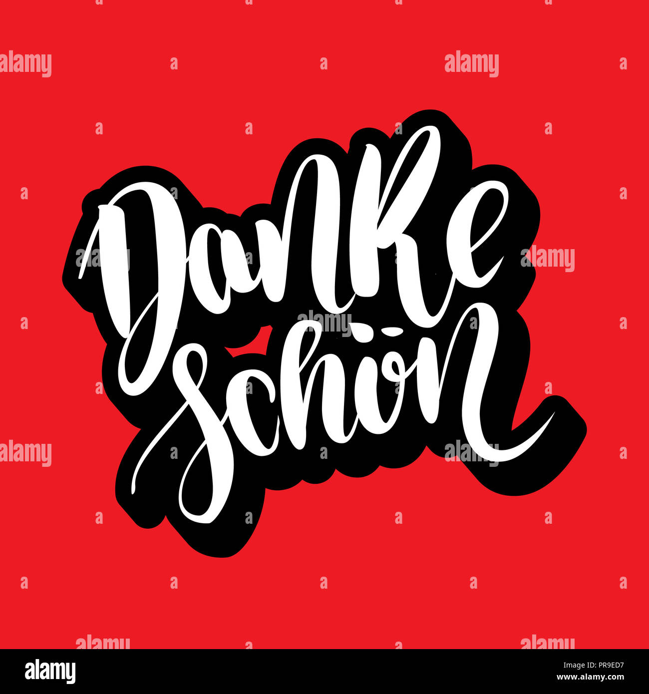 Danke schoen. Thank you in german.  hand drawn brush lettering on red background. Volume 3d letters Stock Photo