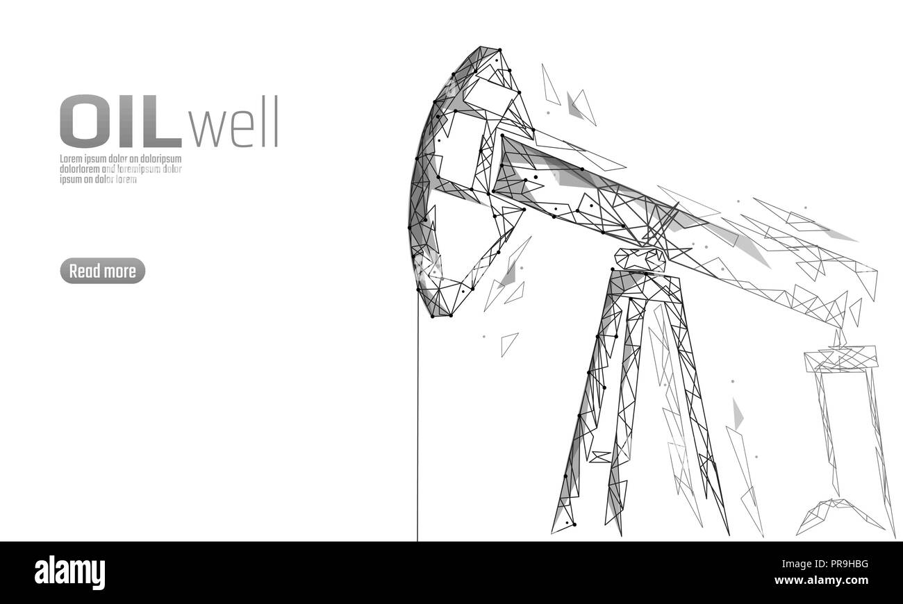 Oil well rig juck low poly business concept. Finance economy polygonal  petrol production. Petroleum
