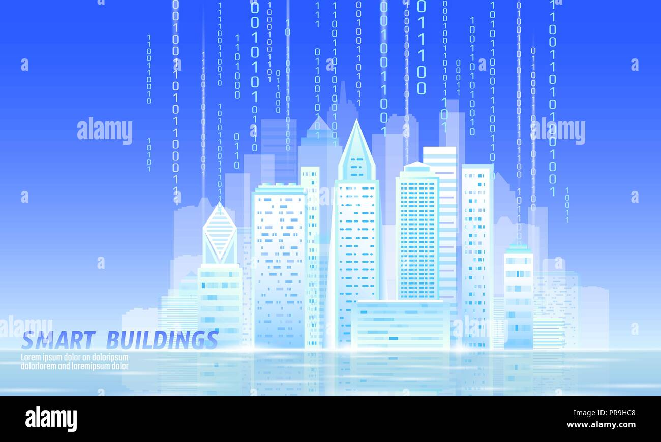 Smart city 3D light sunny morning cityscape. Intelligent building automation day blue sky futuristic business hope concept future technology. Urban banner vector illustration - Stock Vector
