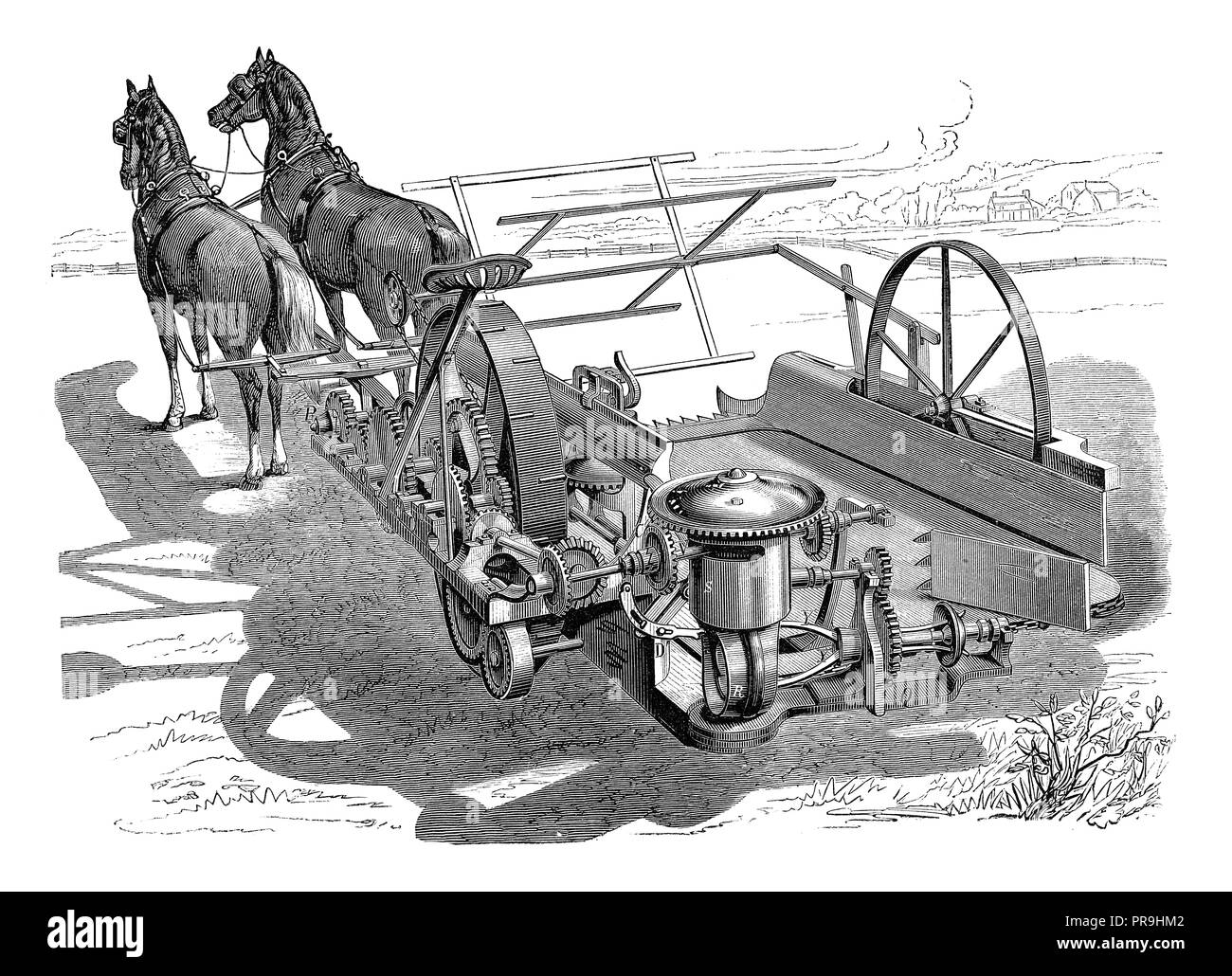 19th century illustration of a grain binder attachment to harvester. Published in 'The Practical Magazine, an Illustrated Cyclopedia of Industrial New - Stock Image