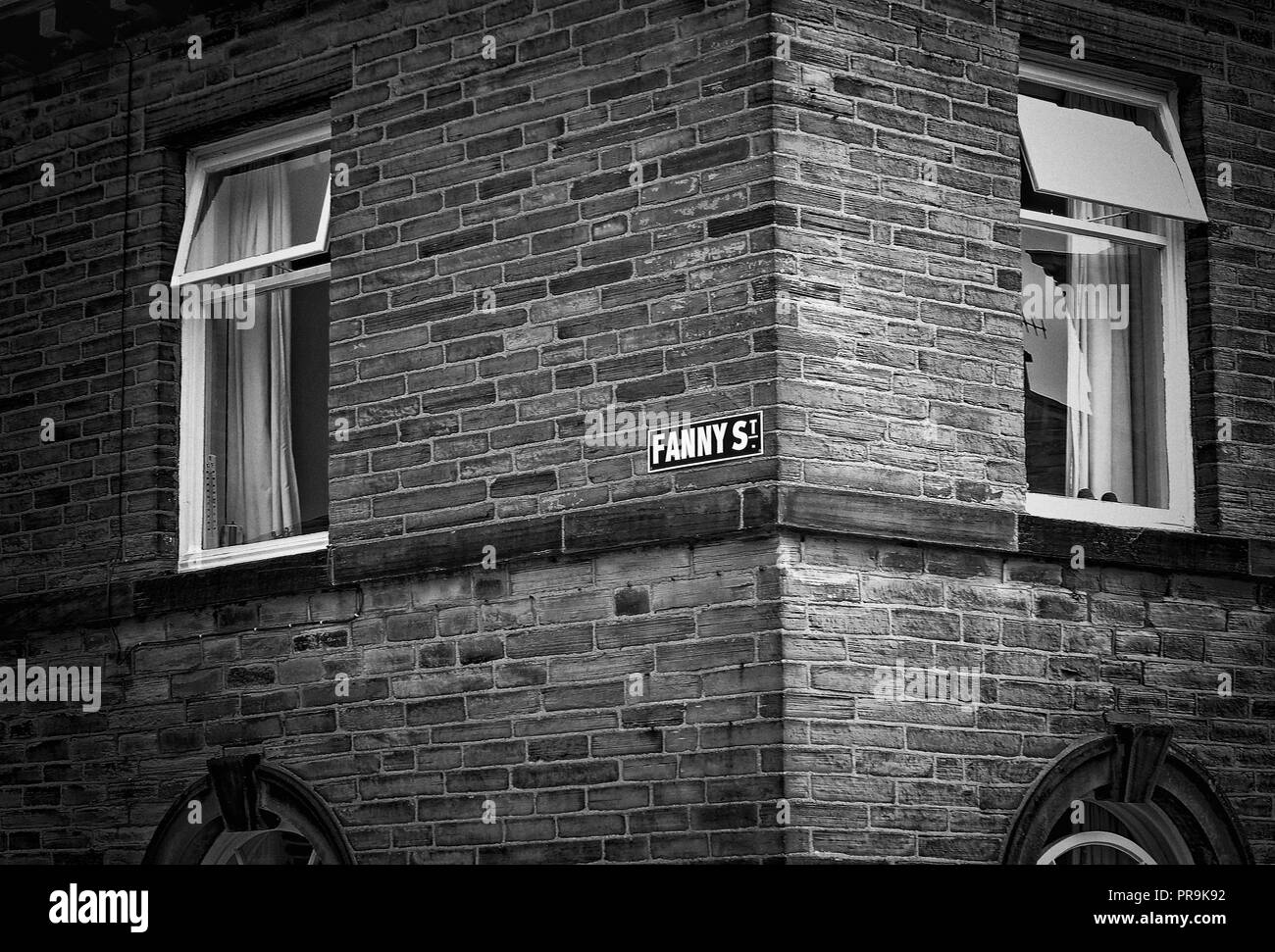 Perhaps not an unusual name in its day. An abstract view of Fanny Street, featuring the street sign. Saltaire, Shipley, Yorkshire - Stock Image