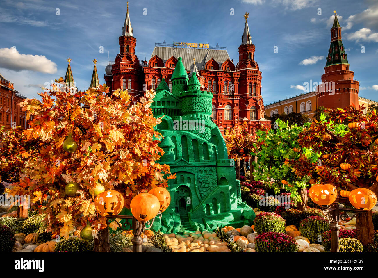 Art-object 'The Castle of the Sorceress' based on the fairy tale 'The Wizard of the Emerald City' installed on the Manege Square on central Moscow dur - Stock Image