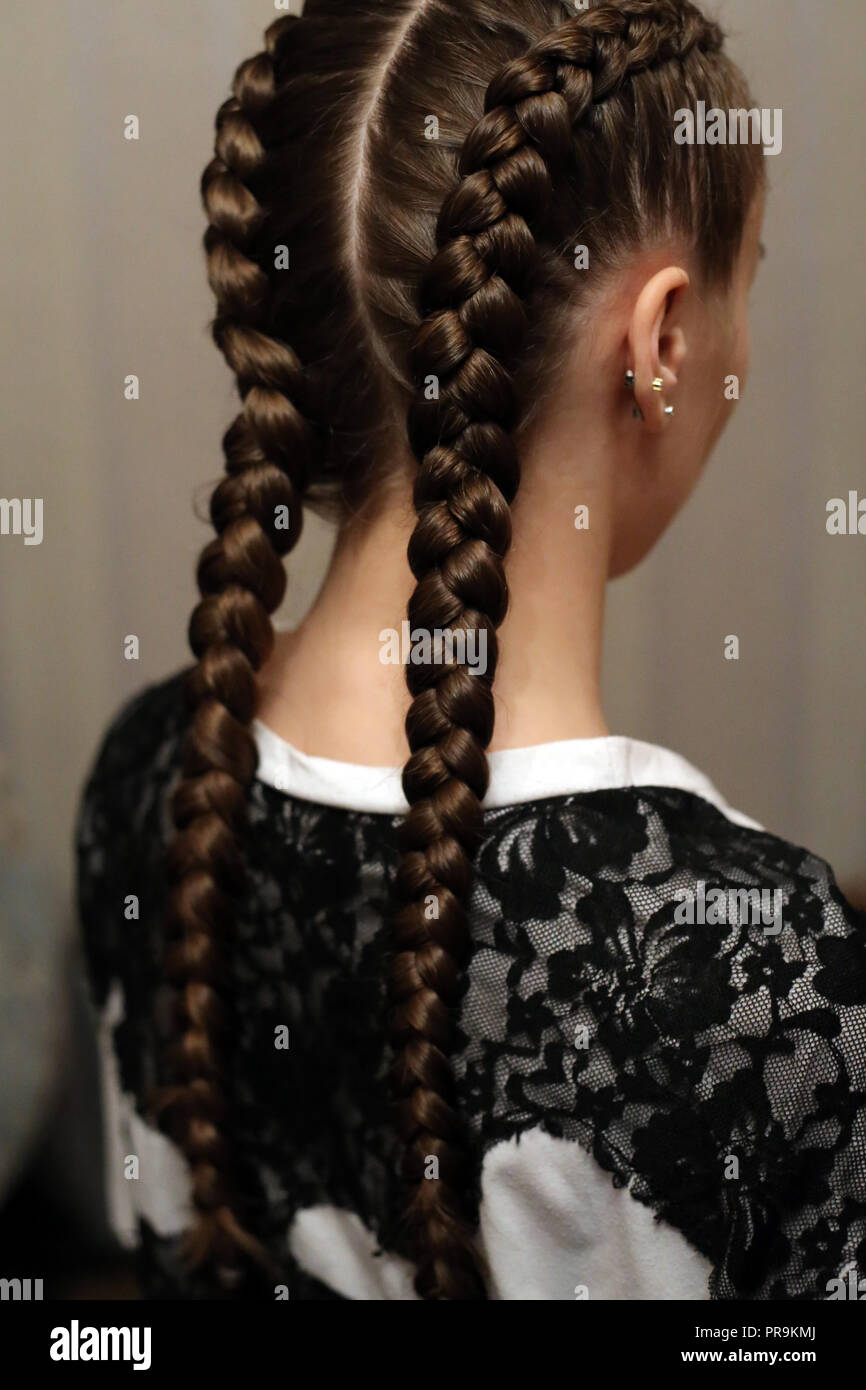 Two Braids Fashionable Youth Hairstyle With A Kanekalon Of Natur Stock Photo Alamy