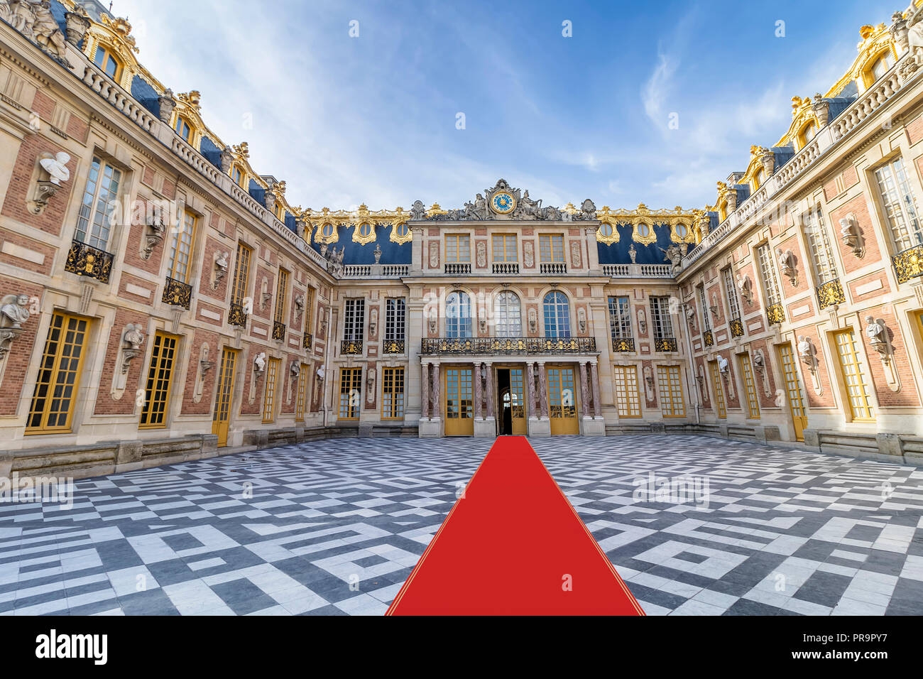 Inside of Chateau de Versailles (Palace of Versailles) near Paris. Palace Versailles was a royal chateau. - Stock Image