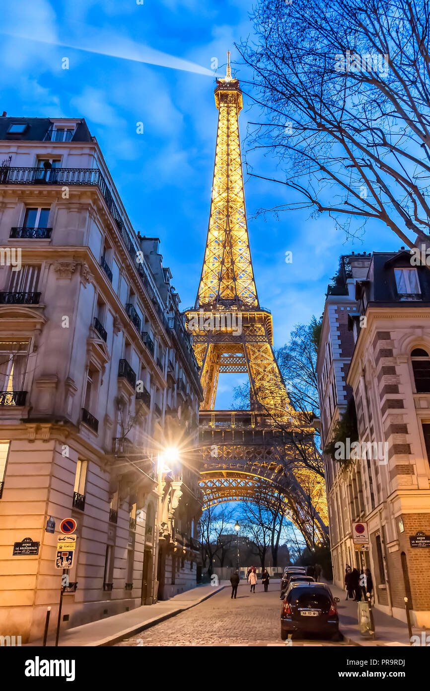 Paris, France - March 13, 2018: View of Eiffel tower illuminated at night Stock Photo
