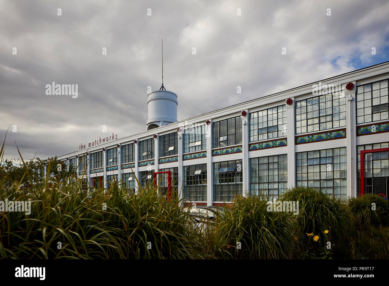 Grade II listed historic  Mersey Match Factory, The Matchworks, former match factory Speke Road, Garston, Liverpool, England. designed by Mewès and Da - Stock Image