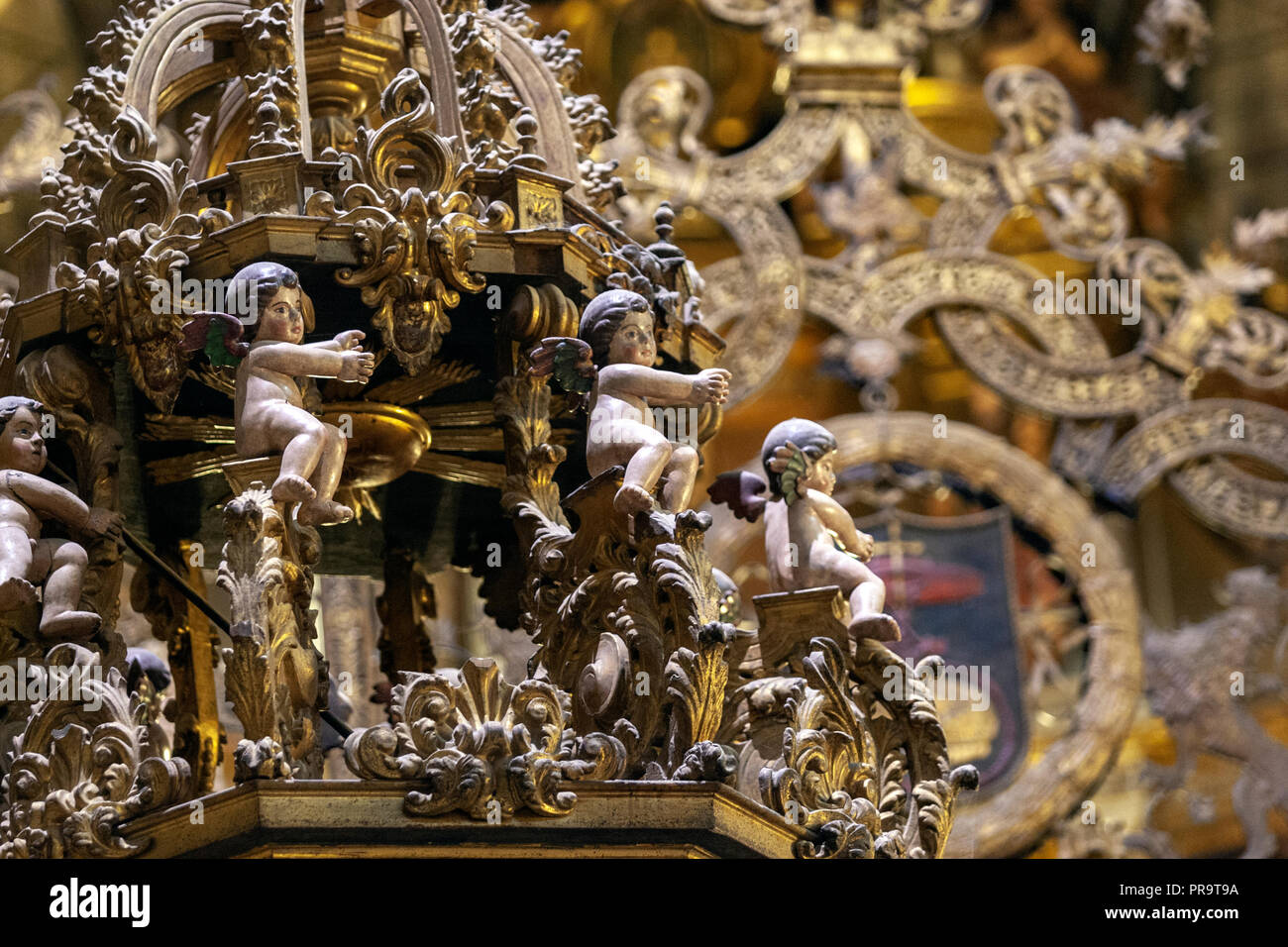 Wood carve figures in the Royal Monastery of Guadalupe, , Guadalupe, Caceres province, Extremadura, Spain - Stock Image