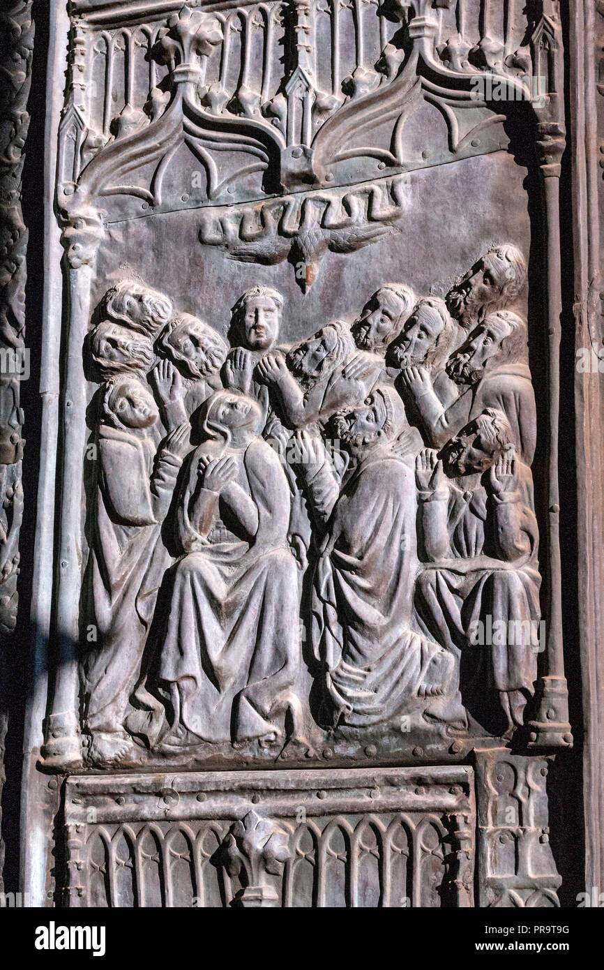 Bronze doors depicting Pentecost evangelist scenes  Royal Monastery of Guadalupe, , Guadalupe, Caceres province, Extremadura, Spain - Stock Image