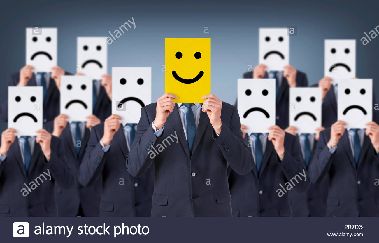 Smile Face Drawing on Cardboard - Stock Image