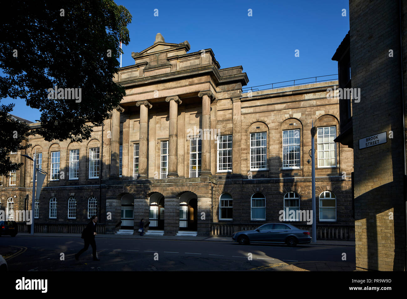 Landmark sandstone Stoke Town Hall, Stoke-on-Trent, Staffordshire by architect Henry Ward - Stock Image