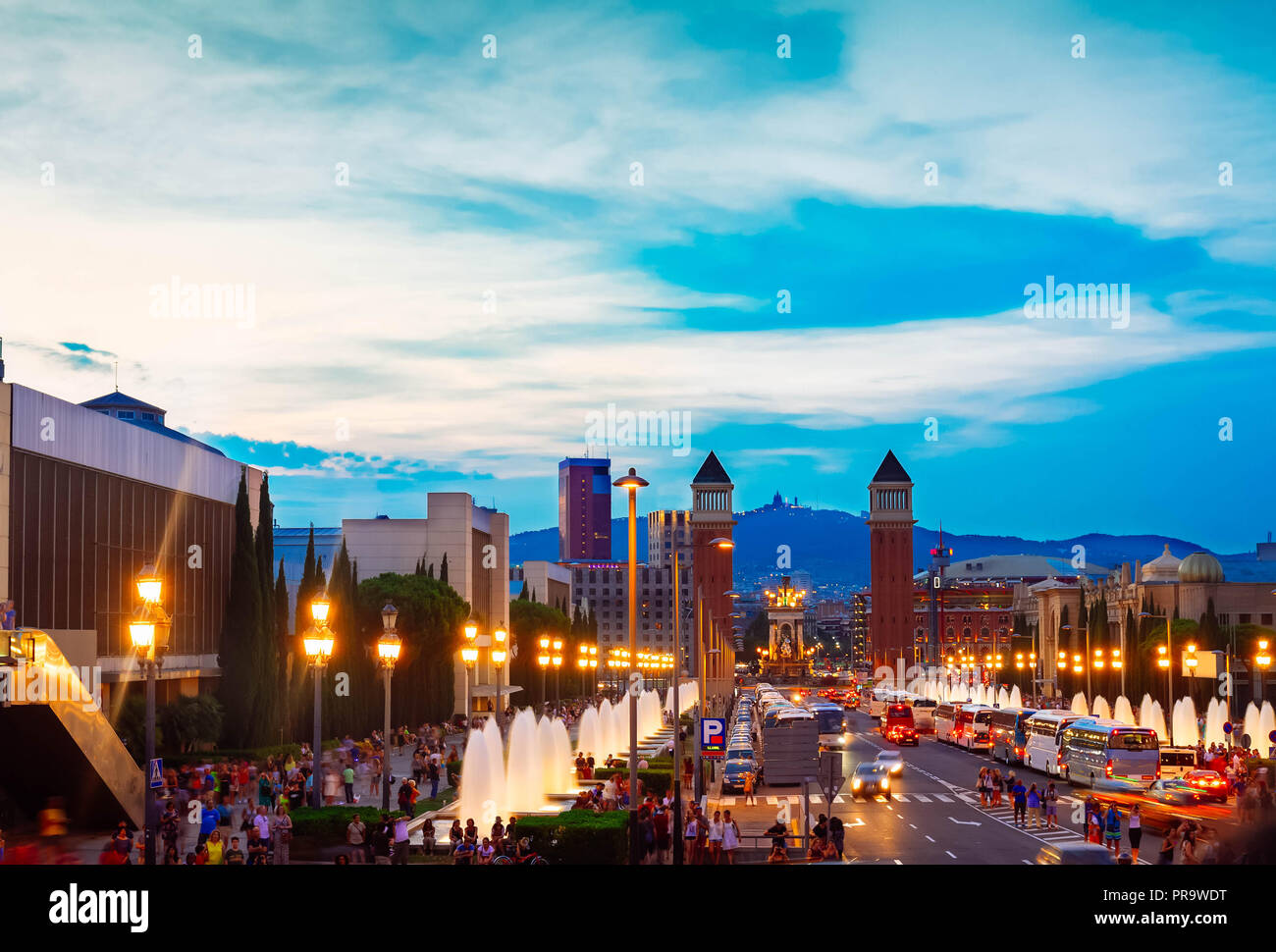 square of Spain with venetian towers, Barcelona - Stock Image