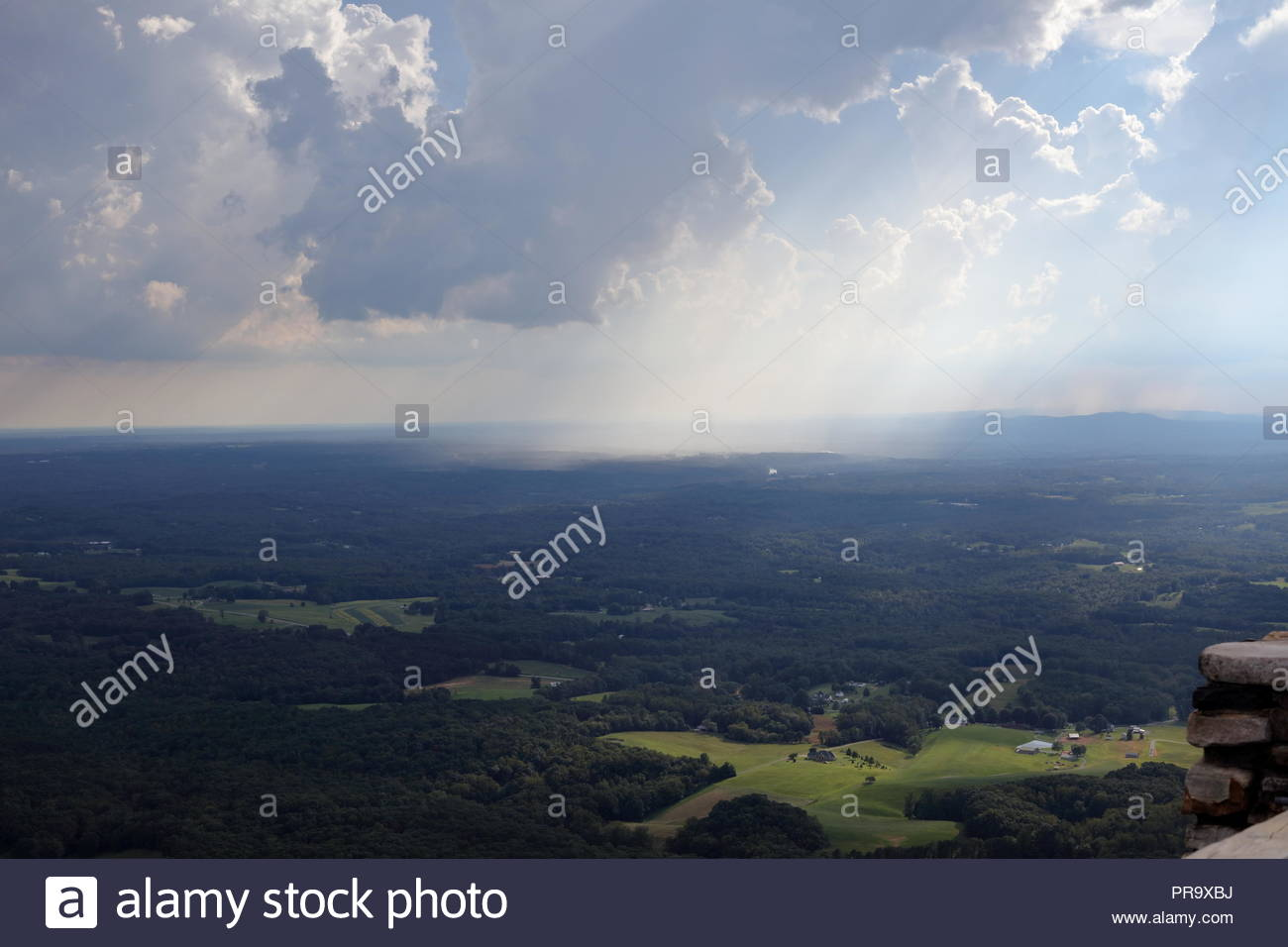 RAIN STORM AERIAL VIEW - Distant aerial view of rain falling on the land. Taken in North Carolina. - Stock Image
