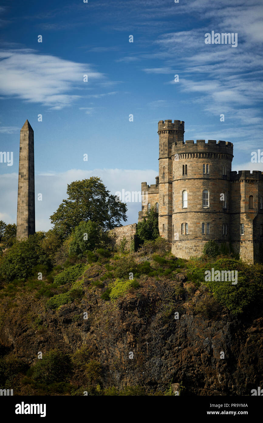 Historic Edinburgh, Scotland , Scottish Government's Governor's House on Carlton Hill with Cleopatra's Needle - Stock Image
