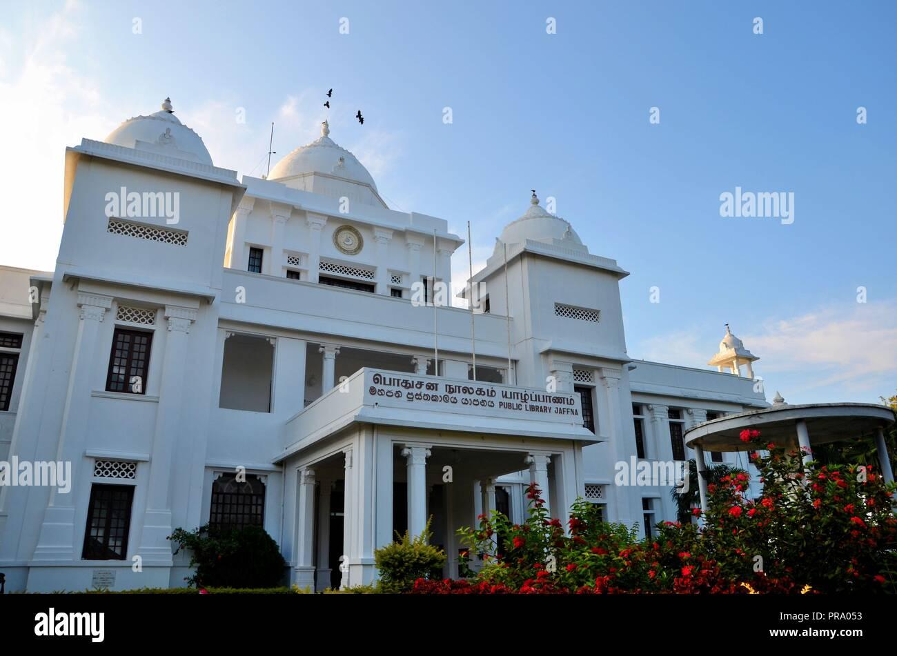 Colonial era rebuilt Jaffna Public Library landmark building for Tamils Jaffna Sri Lanka - Stock Image
