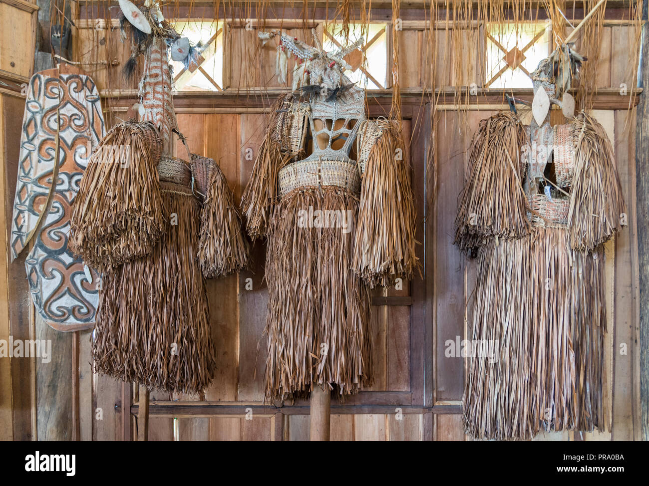 Collection of traditional grass skirts indigenous women wear hanging on a wall. Wamena, Papua, Indonesia. Stock Photo