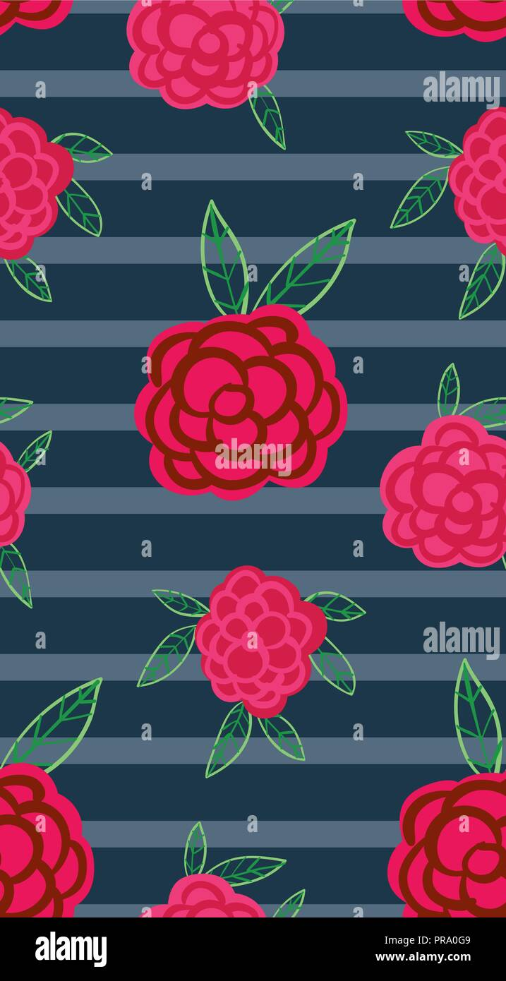Navy Blue Seamless Repeat Floral Pattern Vector Background With