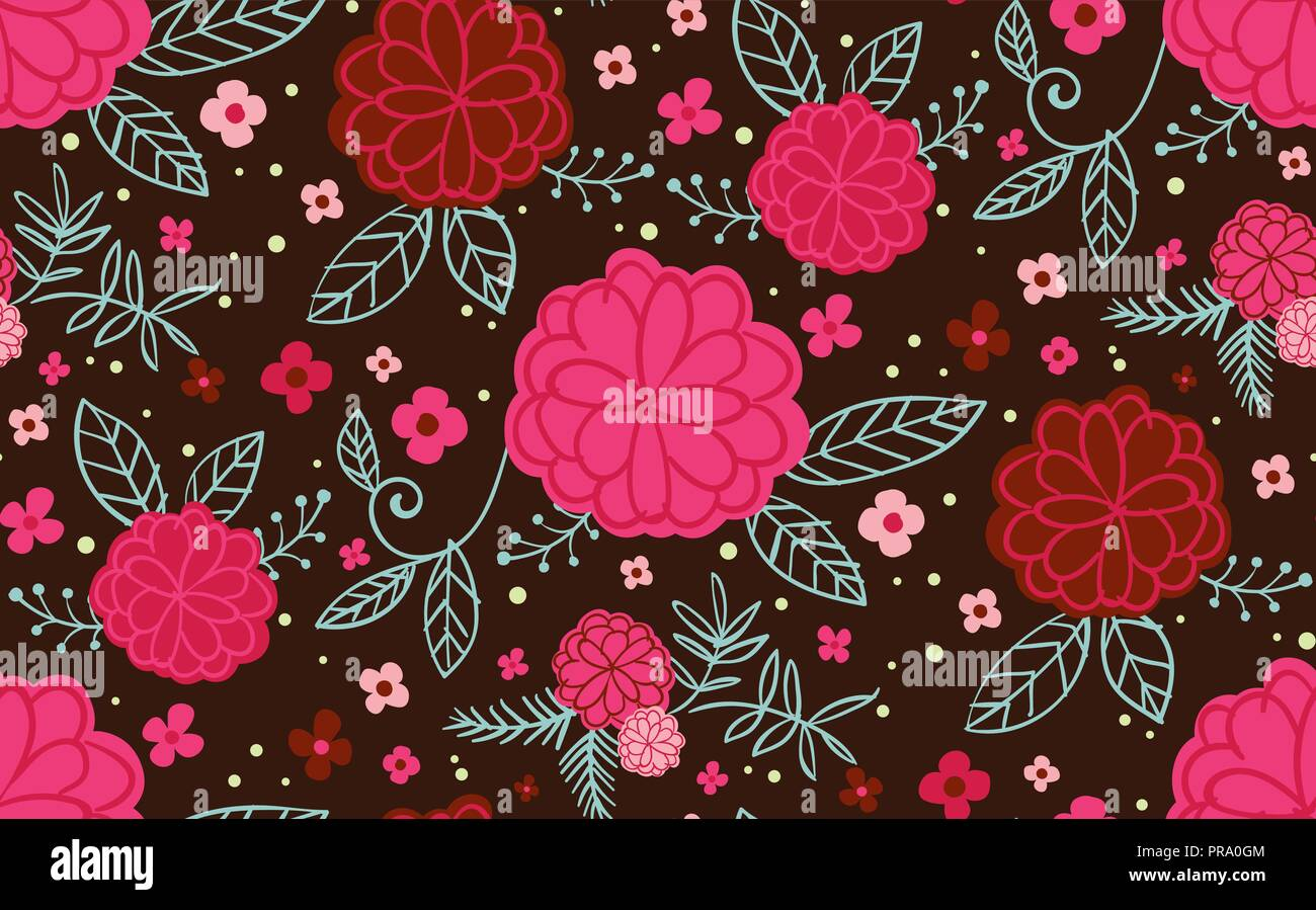 Trendy Seamless Vector Repeat Floral Pattern Fun Modern Pink