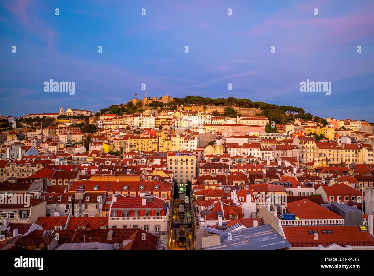 skyline of lisbon and Saint George Castle Stock Photo
