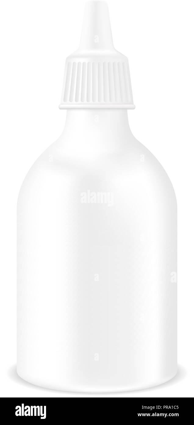 Medical drops bottle. White container mockup - Stock Image