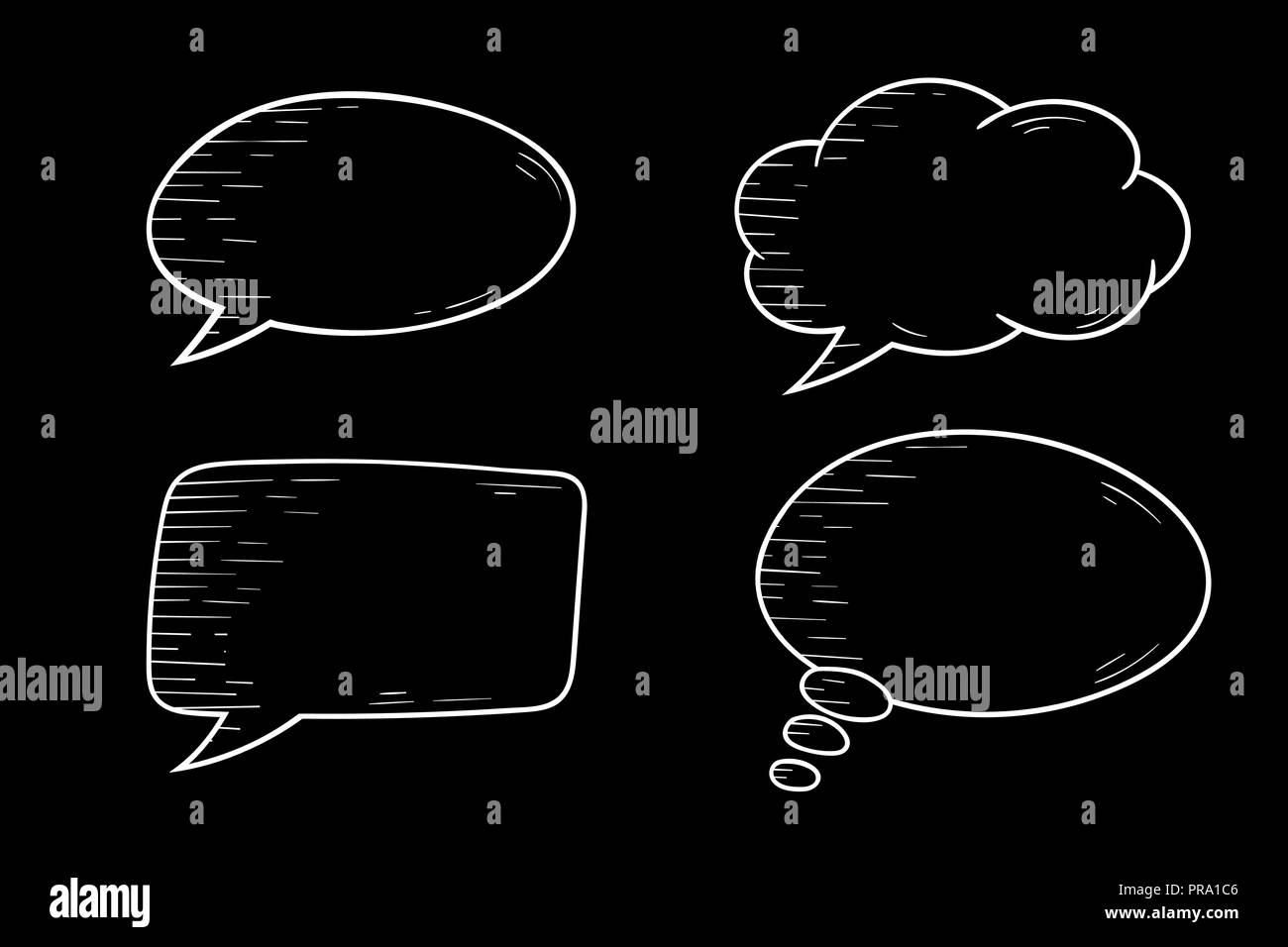 Speech bubbles  Outline icons set on black background Stock