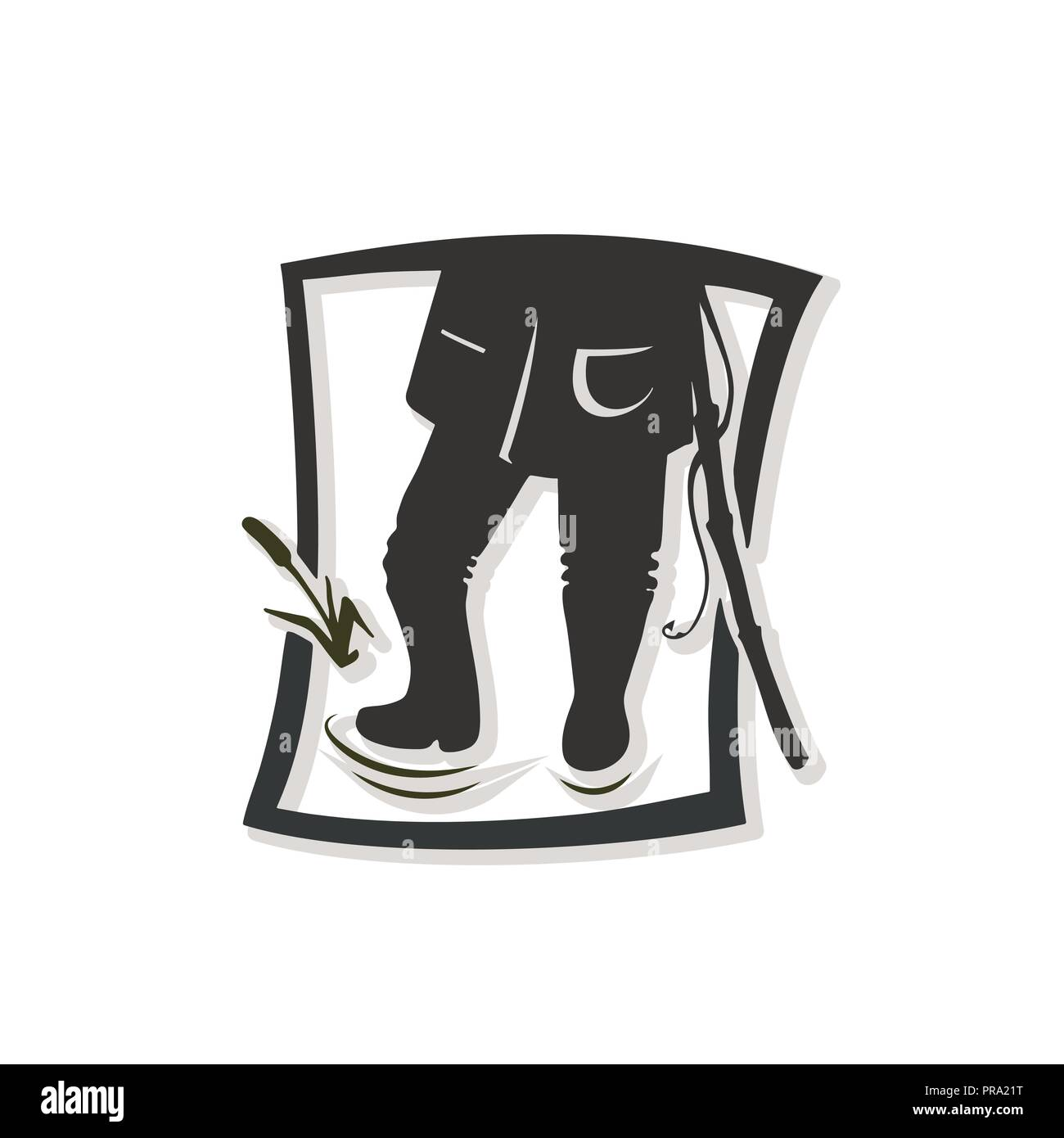 Silhouette of fisherman. Vector illustration. Logotype of the fishing shop. - Stock Image