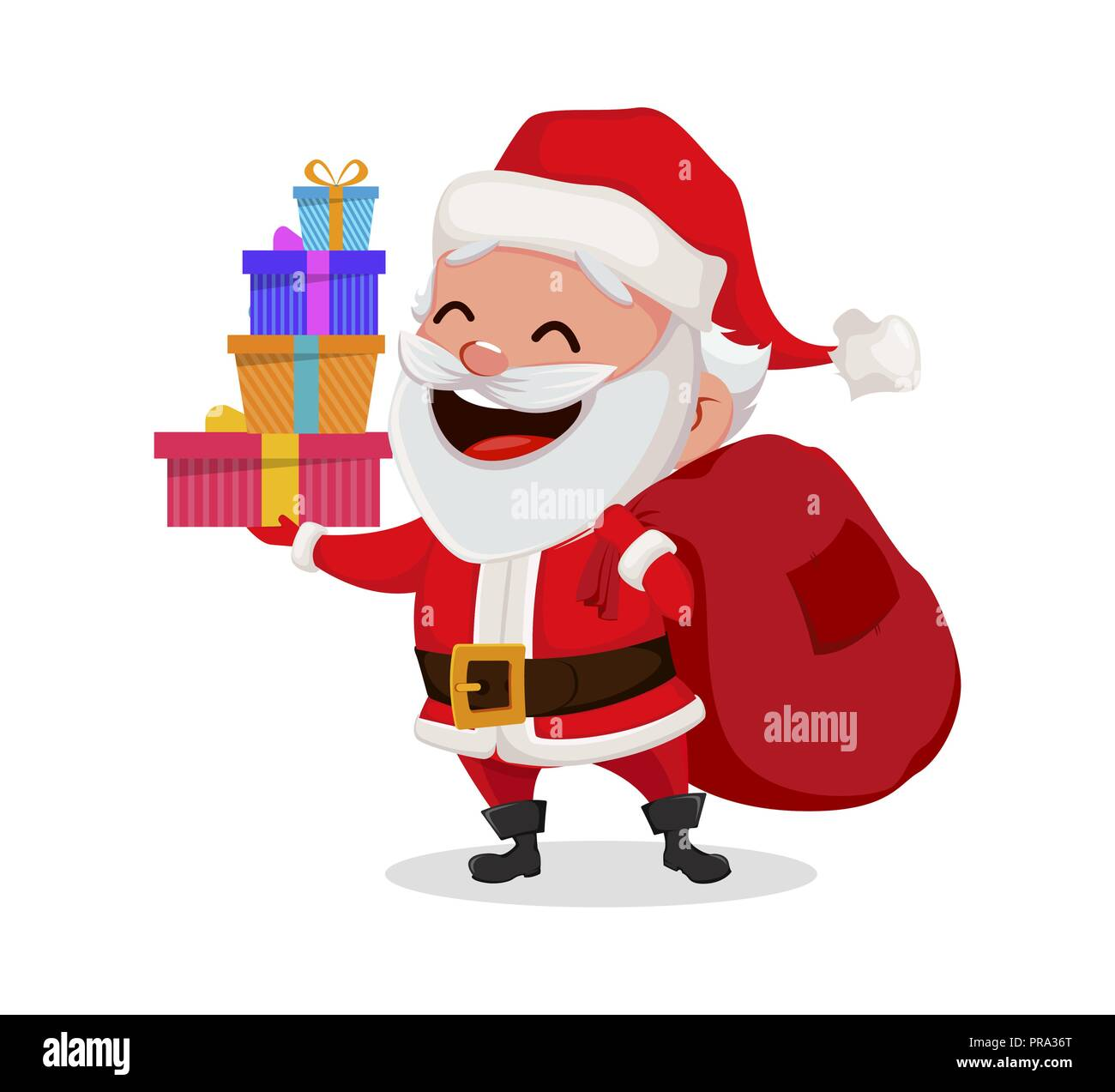 Merry christmas funny santa claus cheerful cartoon character merry christmas funny santa claus cheerful cartoon character holding four gift boxes usable for greeting card banner poster flyer label or tag m4hsunfo