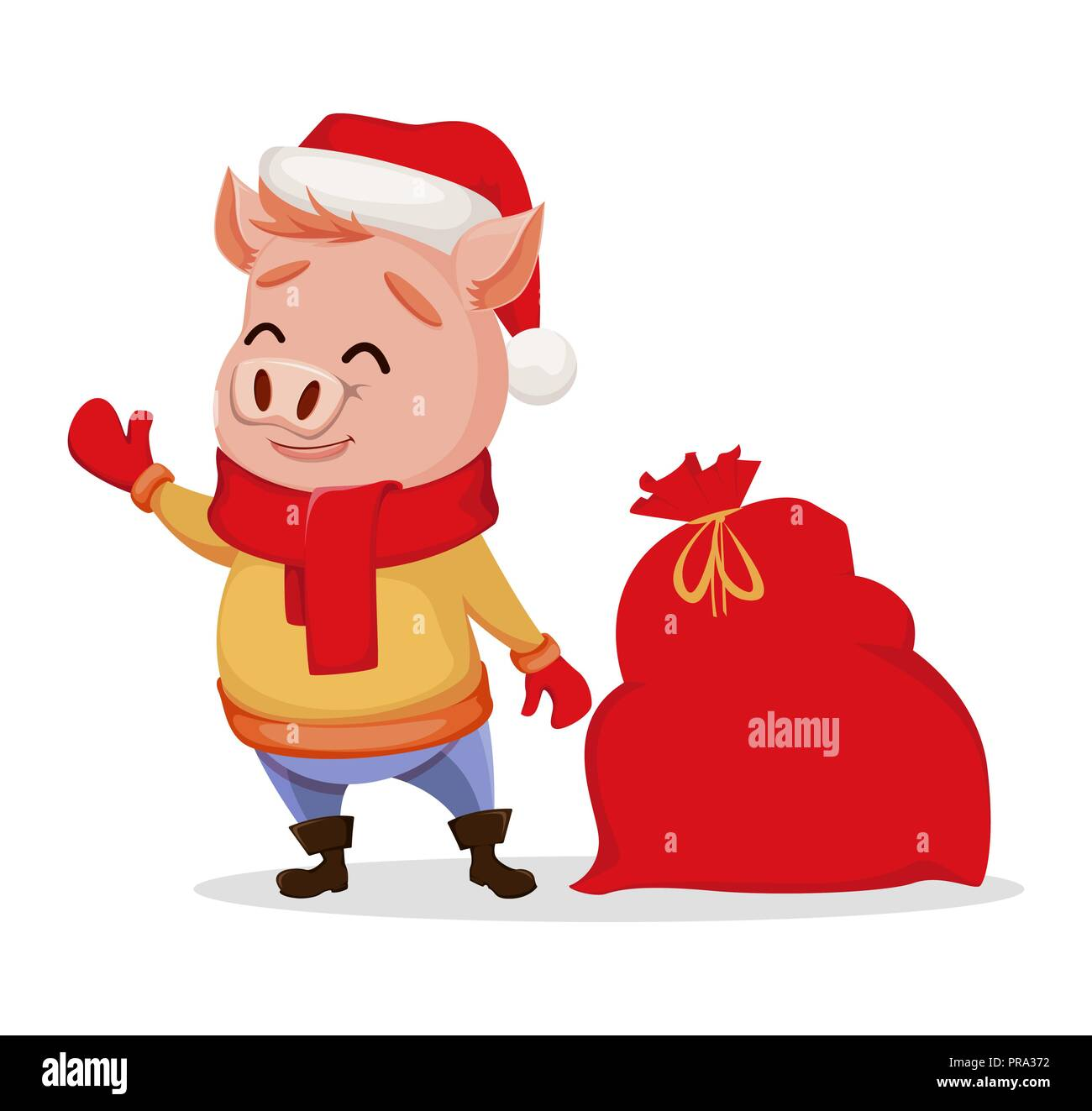 Merry Christmas. Cute pig wearing Santa Claus hat and scarf ...